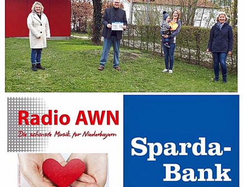 SpendenAktion von Radio AWN mit der Sparda-Bank Ostbayern 1000 Euro als Spende erhalten